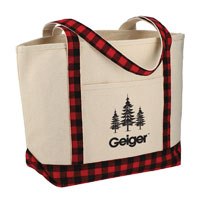 BUFFALO PLAID 18OZ COTTON BOAT TOTE